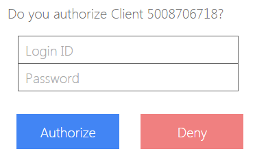 login form in authorization page