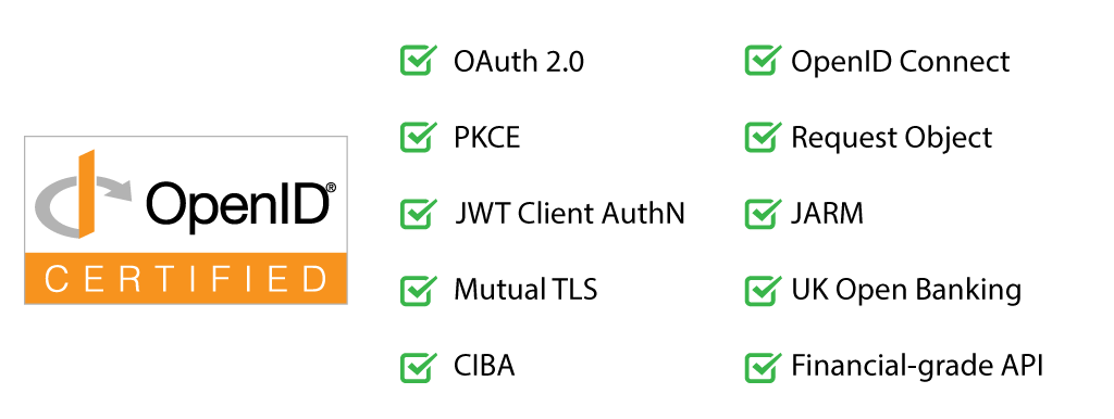 Authlete supports many specifications, such as OAuth 2.0, OpenID Connect, PKCE, Request Objects, JWT Client Authentication, JARM, Mutual TLS, US Open Banking, CIBA and Financial-grade API.